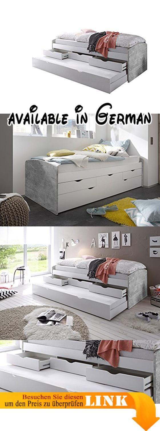 B073X866ML : Stella Trading Nessi Bett Holz weiß / beton 206 x 96 x 64 cm. Kojenbett ohne Lattenrost und Matratze. Liegefläche 90x200 cm (oberes und unteres Bett). Front und Korpus: Beton Nachbildung / Weiß. Artikel ist zerlegt. Inkl. Einfacher ausführlicher Aufbauanleitung. Der Zusammenbau gestaltet sich daher sehr einfach.