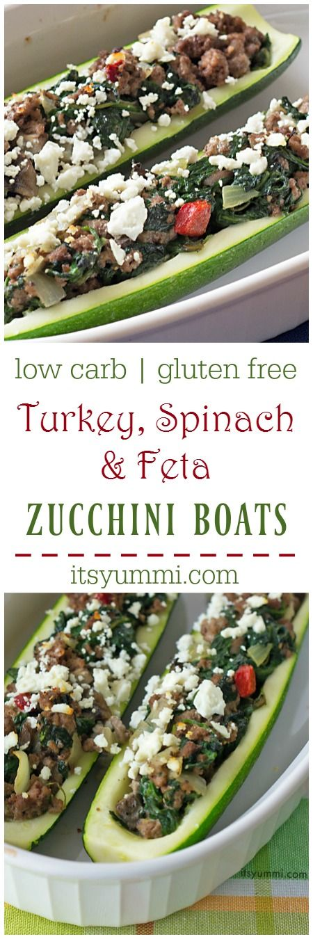 Turkey stuffed zucchini boats are zucchini halves, filled with lean turkey and healthy vegetables, topped with feta cheese for a salty bite of goodness. Even kids love this veggie filled, protein packed meal! It's low carb, gluten free, and is adaptable to a meatless, vegetarian or vegan meal. | ItsYummi.com