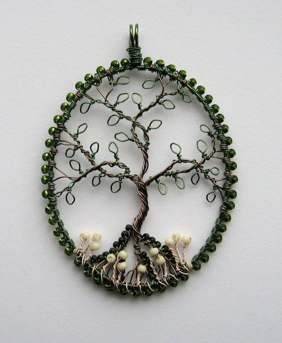 Wow! Beautiful! In The Woods beaded and wire wrapped tree of life pendant with mushrooms