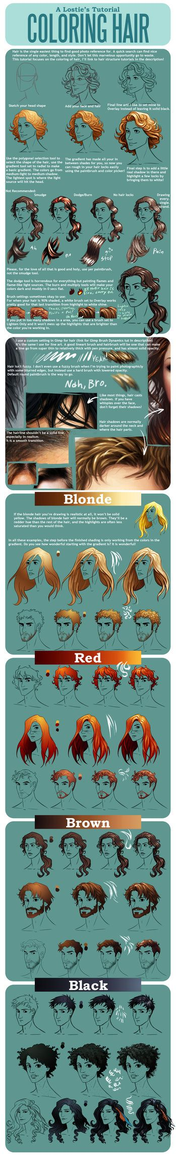Hair Coloring Tutorial by lostie815 on deviantART WHERE HAS THIS BEEN ALL MY LIFE WTF?! MY DRAWINGS ARE GONNA KICK ASS NOW. YES!