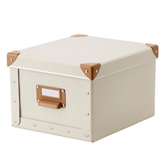 Ikea Fjalla White Storage Box with Lid, 22x27x16 NRFB