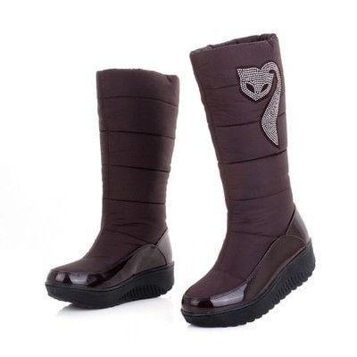 Women's Waterproof Fox Jewel Fur-Lined Winter Snow Boots 6 Colors