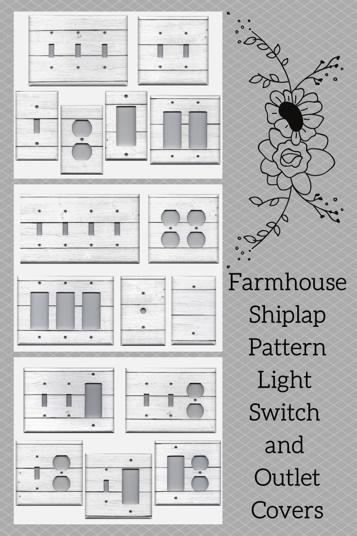 White Rustic Faux Shiplap Farmhouse Decor Light Switch