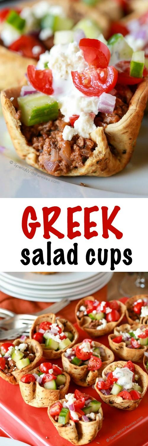 These easy Greek Salad Cups feature perfectly seasoned shells baked crisp and are filled with zesty Greek inspired lamb. A topping of juicy tomatoes, crunchy cucumbers and feta cheese make them totally irresistible! @flatouflatbread @loveoflamb #friendsgiving #flatoutlamb #ad