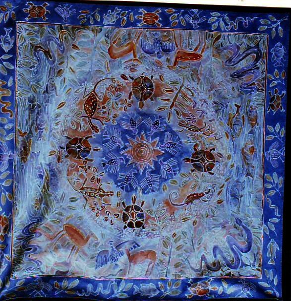 Table cloth done with flour resist