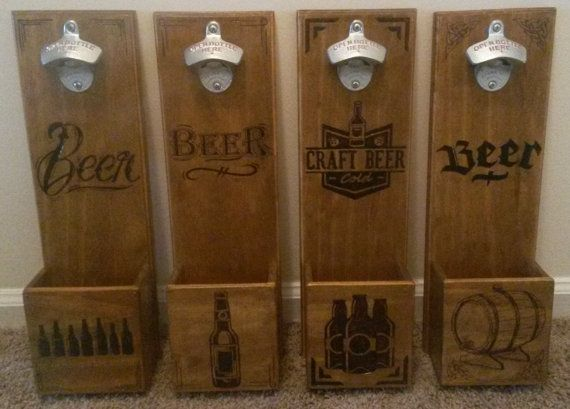 Personalized Wall Mounted Bottle Opener By Woodenmancave