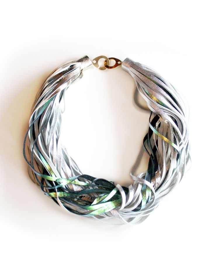 Twisted Necklace_Gold, Silver, Green Collection 2016 Leather jewellery by My Golden Cage