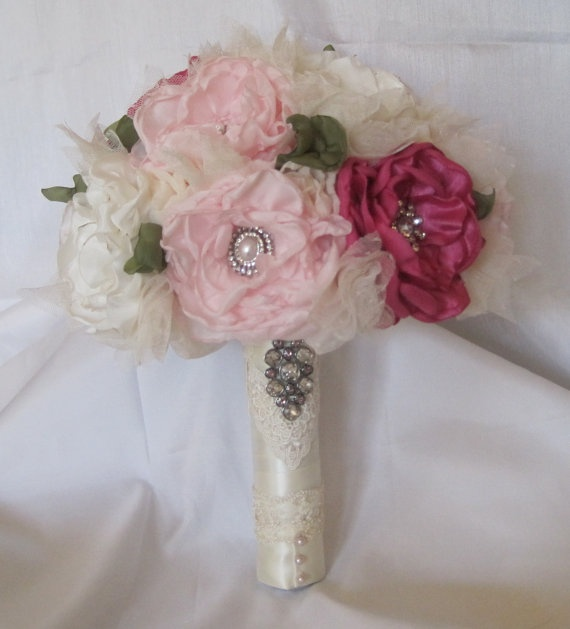 Bridal Fabric Flower Bouquet in Shades of Pink by theraggedyrose, $325.00