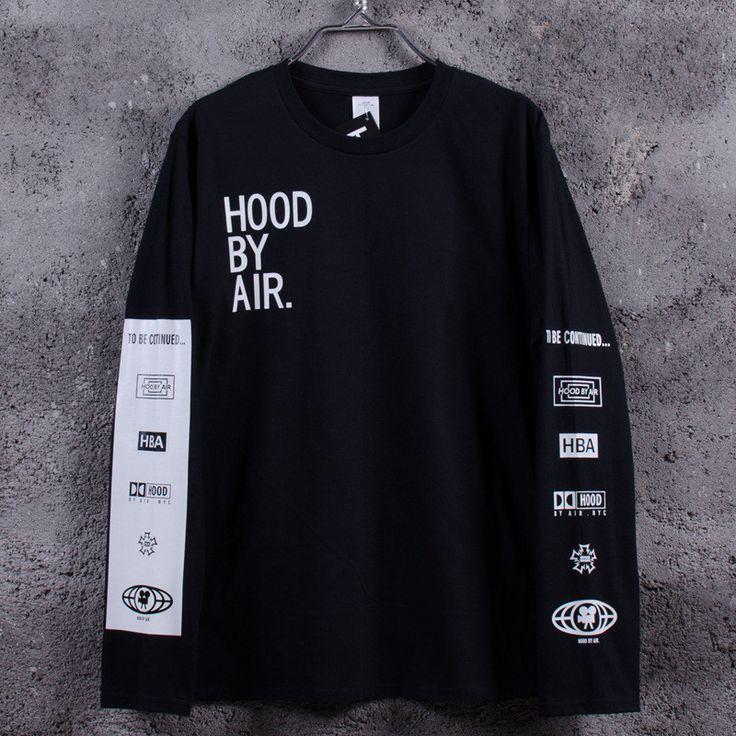 New 2016 Men's Hood By Air Long Sleeve Tee Shirts Man HBA Hip Hop t-shirts Been Trill Printed tshirts Men Camisetas Clothing <3 La oferta se puede encontrar haciendo clic en la VISITA botón