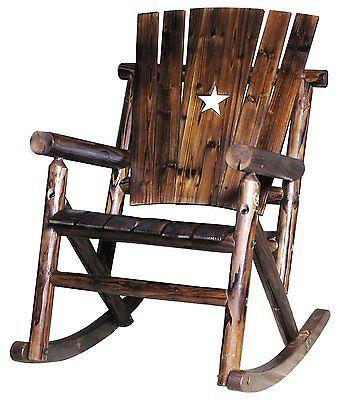 Rustic Rocking Chair Rocker Wood Log Cabin Indoor Outdoor Patio Porch Texas Star