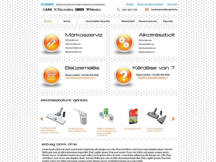 Lux Parts cégnek próbamunka webdesign terv/webdesign to the Lux Parts Company