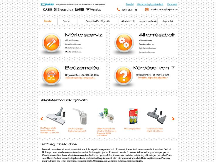 Lux Parts cégnek próbamunka webdesign terv/webdesign to the Lux Parts Company