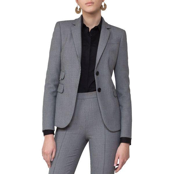 Akris Punto Mini-Houndstooth Two-Button Blazer (24,525 EGP) ❤ liked on Polyvore featuring outerwear, jackets, blazers, grey, tailored jacket, houndstooth blazer, grey blazers, tailored blazer and mini jacket