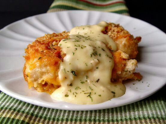 Crispy chedder cracker crusted chicken. Baked, not fried! :)