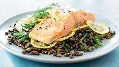 Salmon and Puy lentils with parsley