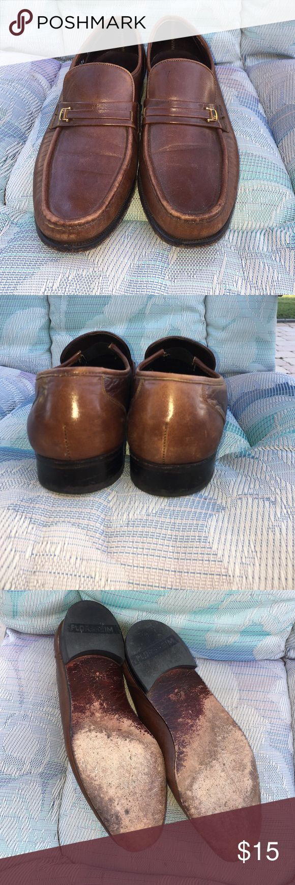 Mens Florsheim Loafers Leather uppers & soles. Rubber lined heels. Plenty of wear left. Size 9 1/2 C Florsheim Shoes Loafers & Slip-Ons
