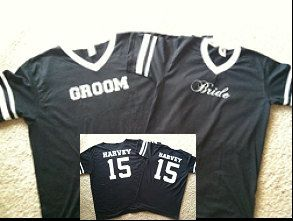 Hey, I found this really awesome Etsy listing at http://www.etsy.com/listing/116539762/bride-and-groom-custom-jersey-t-shirts