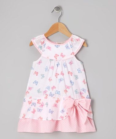 This Pink & Blue Butterfly Yoke Dress - Infant & Toddler is perfect! #zulilyfinds