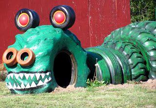 Juego para niños elaborados con neumáticos usados.