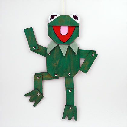 """Hi Ho! Kermit the Frog here!"" - Moveable Cardboard Puppet, fun to make and even more fun to play with 