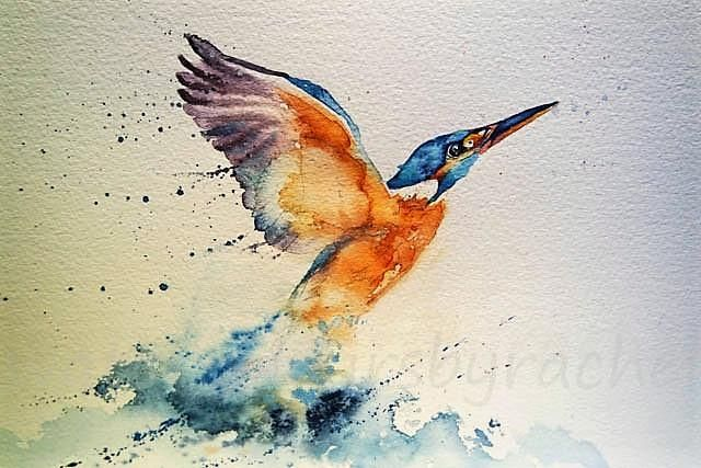 I have had a wonderful week this week as I have had complete freedom to paint just what I wanted. I have a few new pieces to share with you in the coming days but a subject i return to time and again is movement. I love birds and the way they move and a favourite of mine isthe king fisher . 1. Find an image of a kingfisher and draw it as carefully as you can. I often use pixabay as a source of images or I have some friendly photographer friends whohelp me too.  2. Now it is time to get…