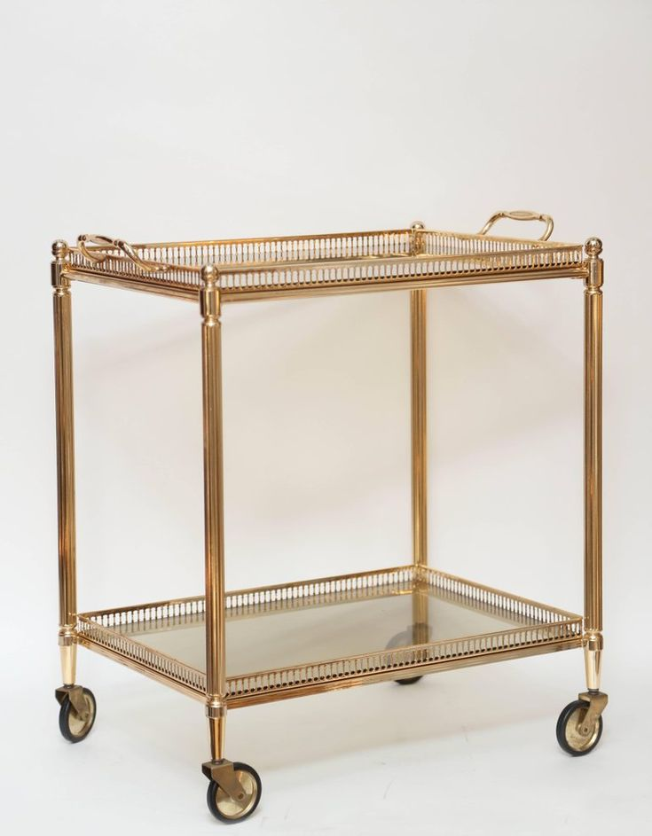 """Midcentury vintage American brass stone two-tier cocktail trolley with removable glass tray top.  Tray is 1.5"""" H x H 18"""" W x 14"""" D."""