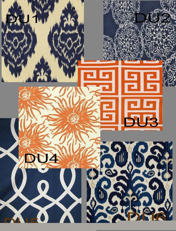 Custom Orange and Navy Drapes 50 inch x 108 inch  by avecdieu, $158.00