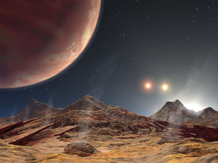 Triple Star Sunset.  Artist's impression of the view from a hypothetical moon around an exoplanet orbiting a triple star system.
