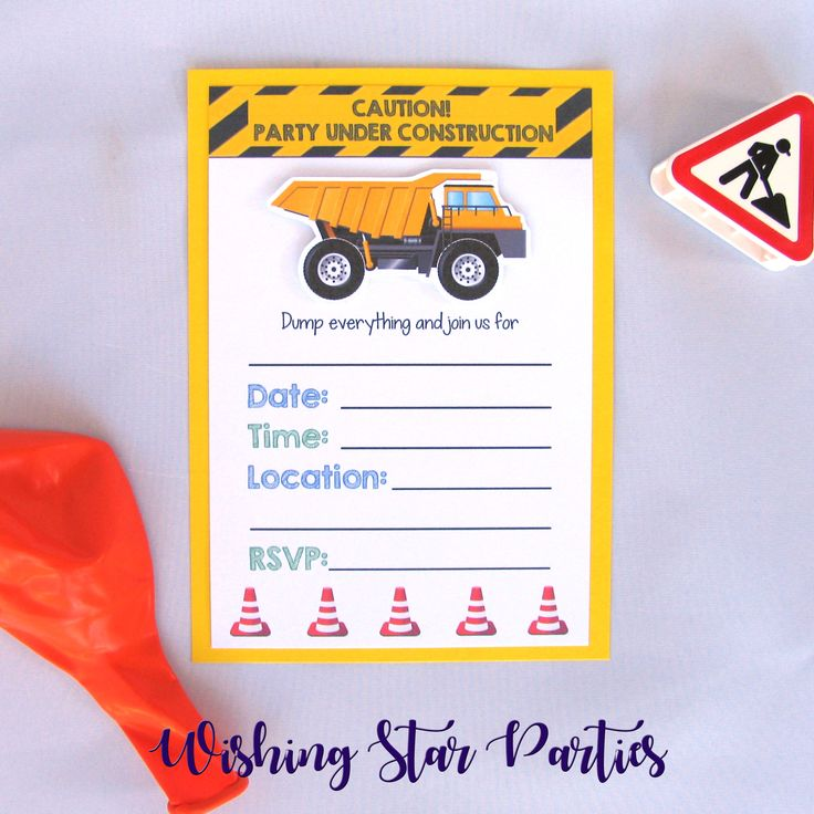 A dump truck construction themed fill-in-the-blank party invitation