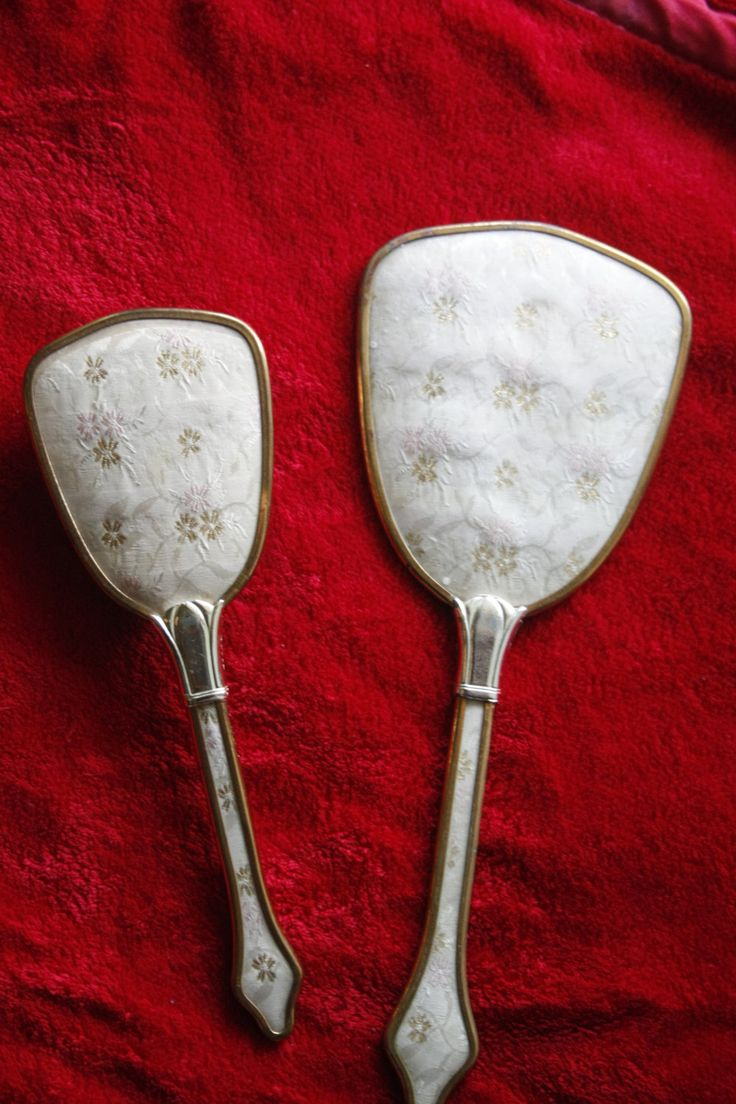 Matching vintage hairbrush and mirror by TheKindLady on Etsy