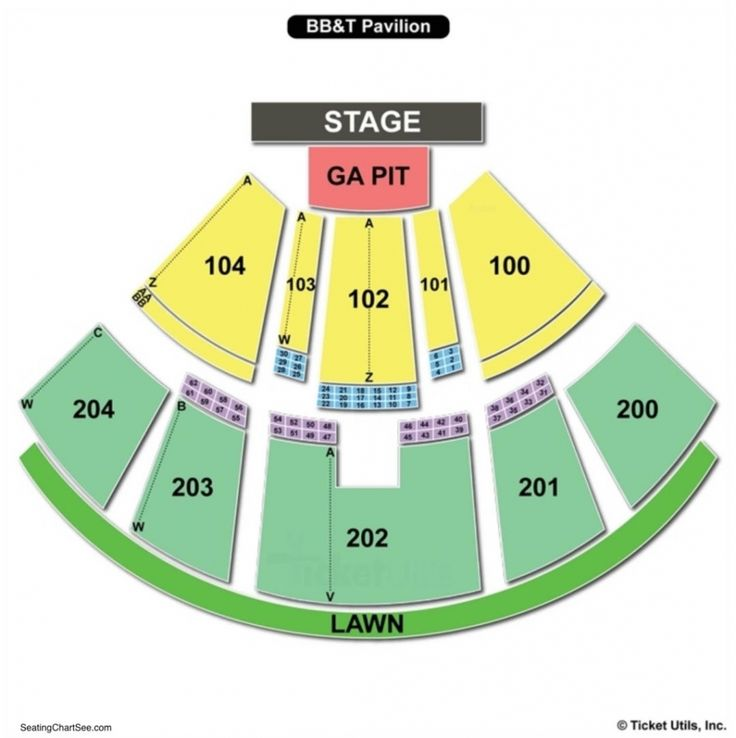bb&t pavilion seating chart with seat numbers di 2020