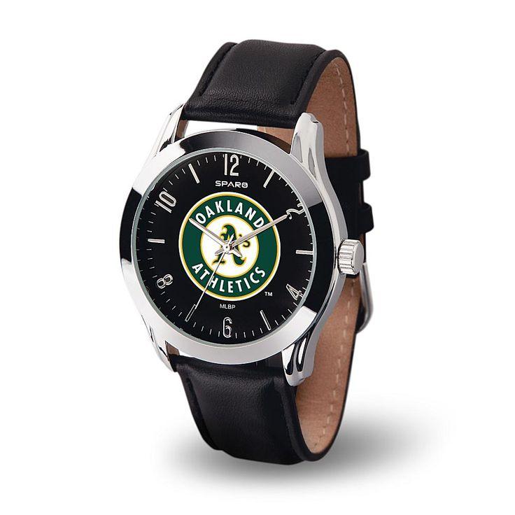 Rico MLB Team Logo Classic Series Black Strap Watch - Oakland Athletics