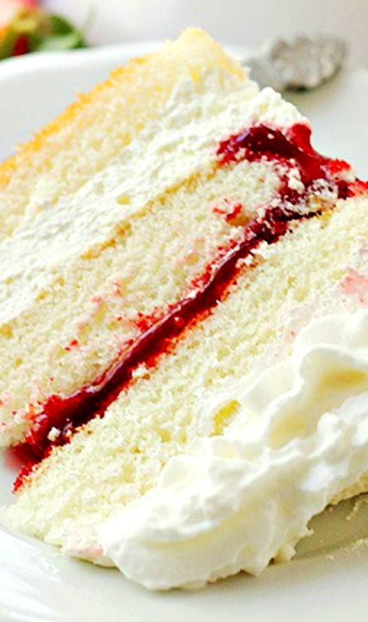 Strawberry Shortcake Cake ~ Layers of moist, buttery cake filled with strawberry pie filling and whipped cream frosting.