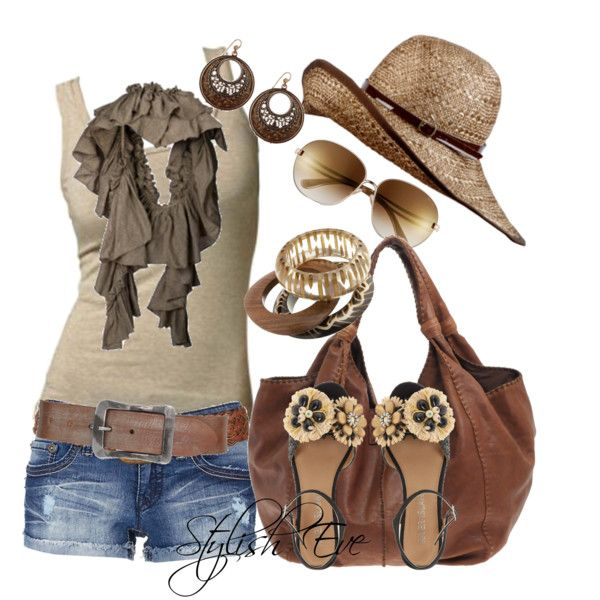 Vacation clothes cute bag belt and shirt