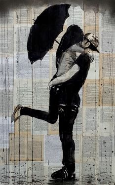 "Saatchi Online Artist Loui Jover; Drawing, ""rainy day lovers"" #art"