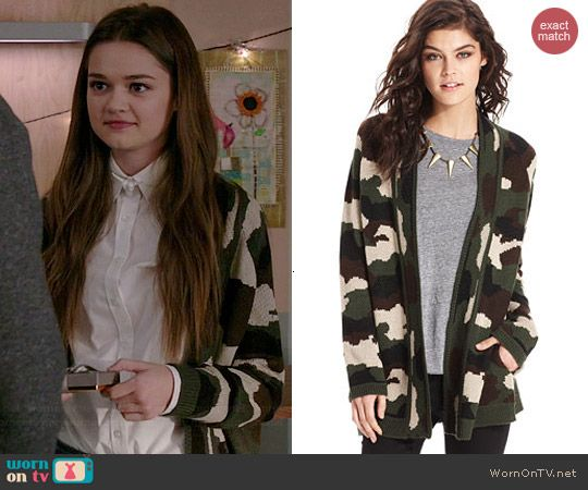 Emma's camo cardigan on Red Band Society.  Outfit Details: http://wornontv.net/41193/ #RedBandSociety