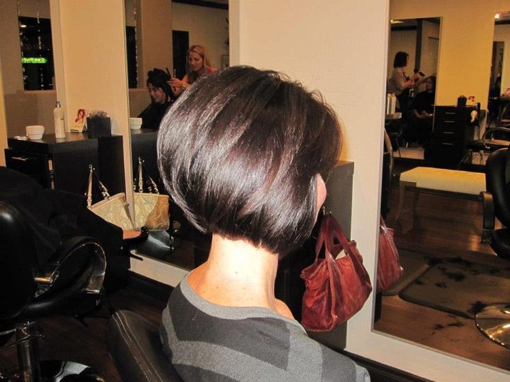 Beautiful Deep chocolate brown hair color, stacked A-line bob haircut, www.theglosssalon.com