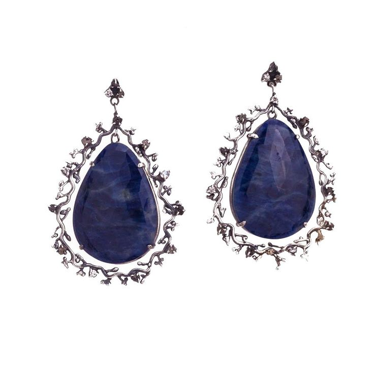 "Earrings ""Vine"" with Blue Sapphires"