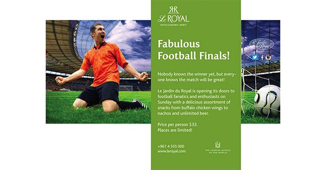 Fabulous Football Finals! #LeJardinduRoyal is Opening its doors to #Football fanatics and enthusiasts on #Sunday with a delicious assortment of snacks from #buffalo #chicken #wings to #nachos and unlimited #beer. with Le Royal Hotels and Resorts - Beirut Price Per Person $33 Places are Limited 00961 4 555000 http://bit.ly/1jkRicF