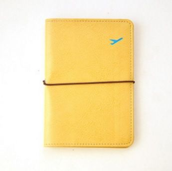 Yellow Colour PU Woman Passport Holder with Tire Cord
