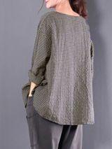 Casual Linen 3/4 Sleeve Gingham Linen Plus Size Blouse 9