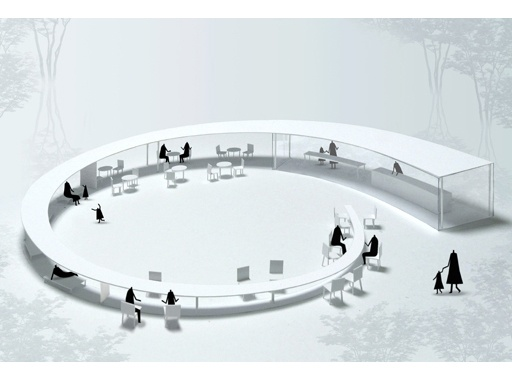 Architecture by Tomohiro Hata, an amazing tea house that provide shelter and tables in one structure.