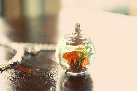 Goldfish in a bowl necklace by lepetitebonbon on Etsy, $25.00