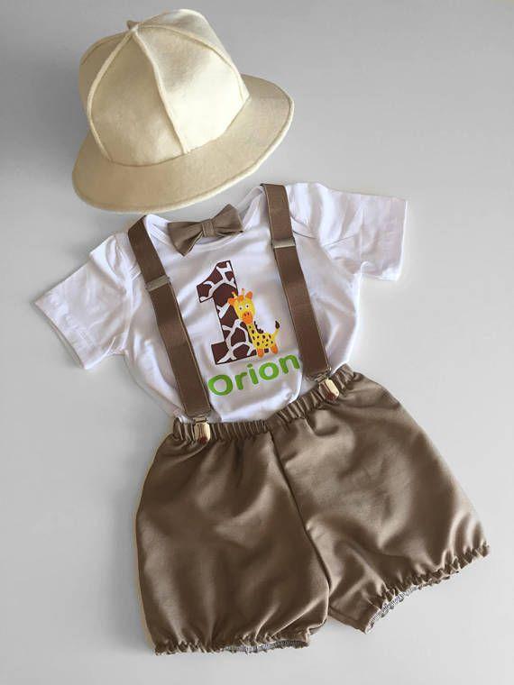 Chico 1er cumpleaños traje con tirantes explorador de Safari