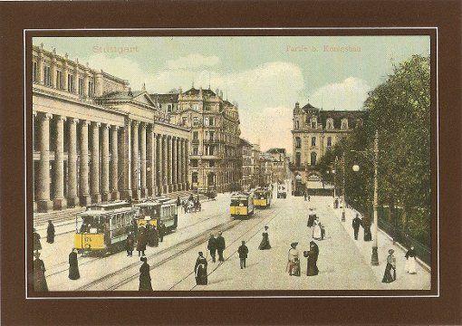 4: Schlossplatz im Jahr 1905: Man sieht einen Pferdewagen, der Bonatz-Bahnhof am Ende der Königstraße fehlt natürlich noch  Foto: Archiv
