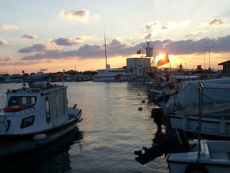 Sunset in Fisherman Port of Turgutreis