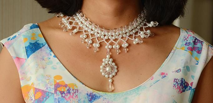 Pandahall's Free Tutorial on Making a Pink and White Bridal Pearl Statement Necklace with Pendent