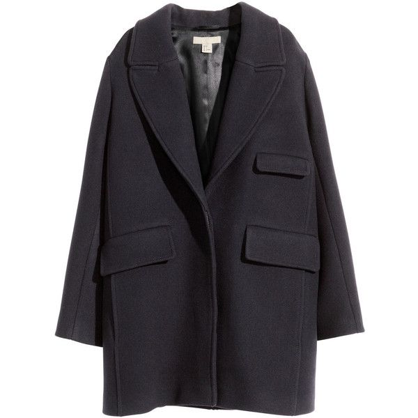 H&M Coat in a wool blend ($185) ❤ liked on Polyvore featuring outerwear, coats, jackets, h&m, dark blue, wool blend coat and h&m coats