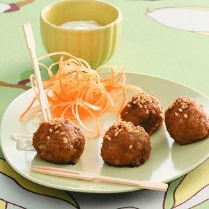 Asian Meatballs. Like the garnish presentation too. Wonder if we could pickle out own ginger and make a garnish like this.