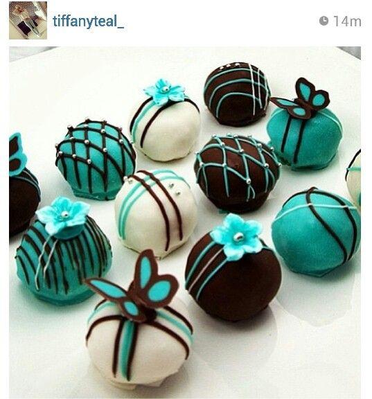 Teal cake pops